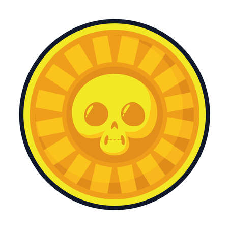 coin with skull mexican ethnic flat style icon vector illustration design