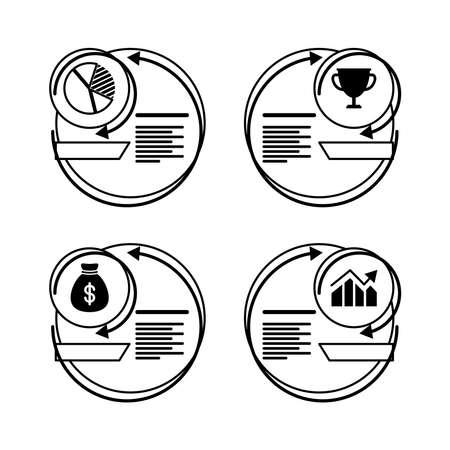 economy infographics statistics line style icon vector illustration design