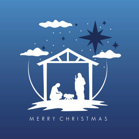 happy merry christmas manger scene with holy family in stable figures silhouette vector illustration design Vettoriali