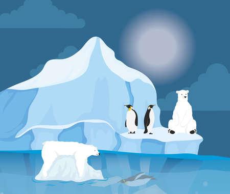 iceberg block arctic night scene with penguins and polar bear vector illustration design Vector Illustratie