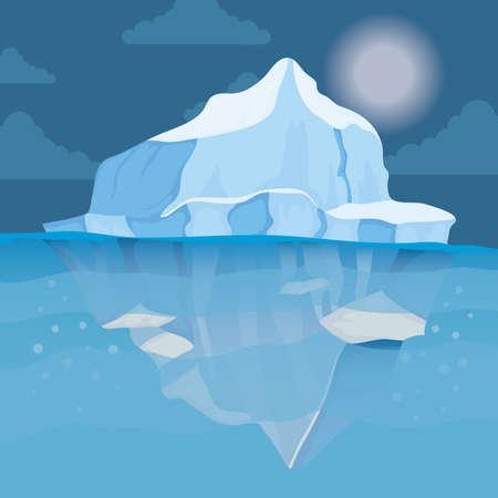 iceberg block arctic night scene landscape vector illustration design