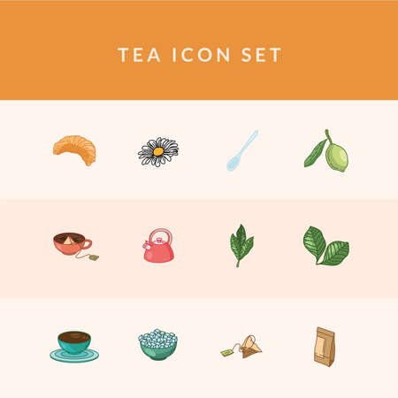 Tea line and fill style 12 icon set design, Time drink breakfast and beverage theme Vector illustration Çizim