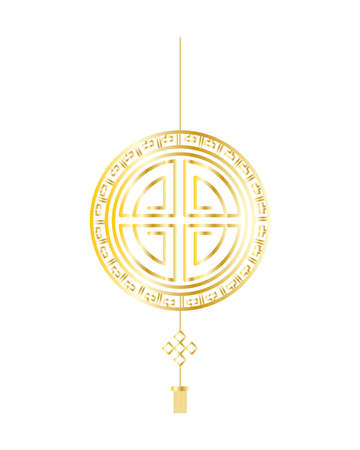 golden chinese seal hanging isolated icon vector illustration design
