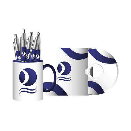 cup mug with pens and compact disc branding vector illustration design