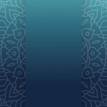 Mandala frame on blue background design of Bohemic ornament indian and decoration theme Vector illustration