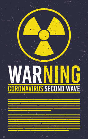 covid19 second wave lettering campaign with atomic signal vector illustration design