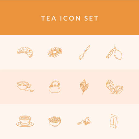 Tea line style 12 icon set design, Time drink breakfast and beverage theme Vector illustration