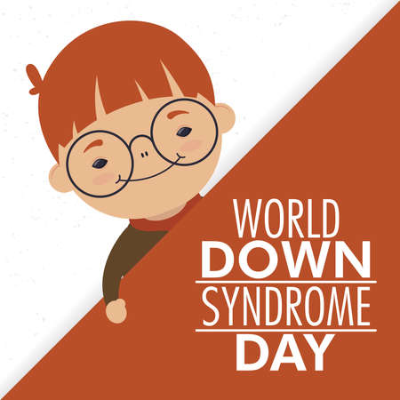 world down syndrome day lettering with little boy wearing eyeglasses vector illustration design