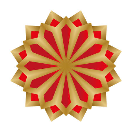 Mandala in red and gold flower shaped design of Bohemic ornament indian and decoration theme Vector illustration