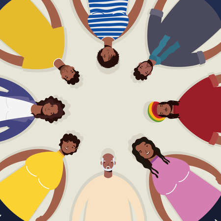 group of afro people characters around vector illustration design