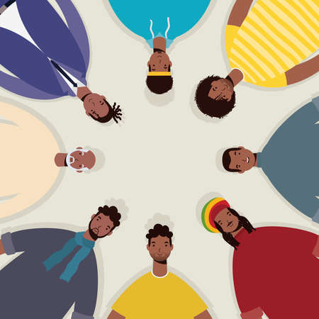 group of afro men characters around vector illustration design Vettoriali