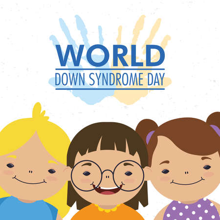 world down syndrome day lettering with hands print paint and girls group vector illustration design