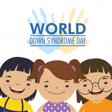 world down syndrome day lettering with hands print paint and girls vector illustration design