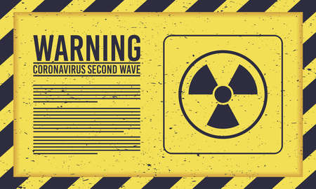 covid19 second wave lettering campaign with atomic signal in yellow background vector illustration design