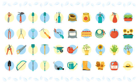 bundle of forty gardening flat style icons vector illustration design