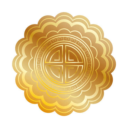 golden chinese seal toten isolated icon vector illustration design