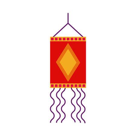 diwali lamp hanging decoration flat style vector illustration design Vettoriali