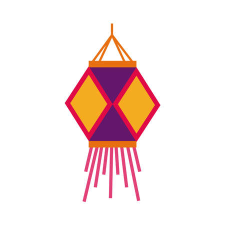 diwali paper lamp decoration flat style vector illustration design Vettoriali