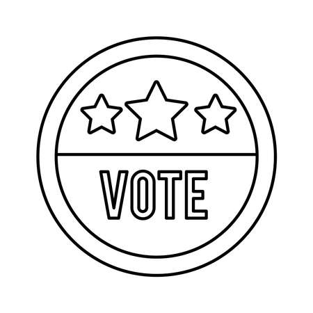 vote word in circle stamp usa elections line style icon vector illustration design
