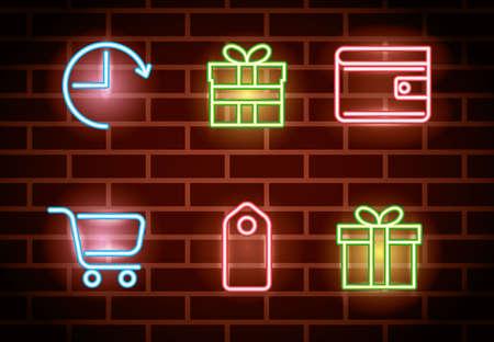 bundle of neon lights icons vector illustration design 向量圖像