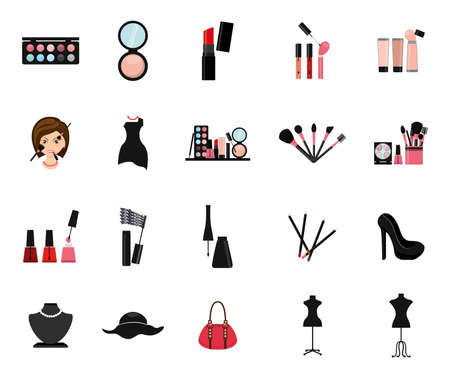 Make up icon set design, beauty cosmetic fashion style glamour skin and facial care theme Vector illustration Vettoriali