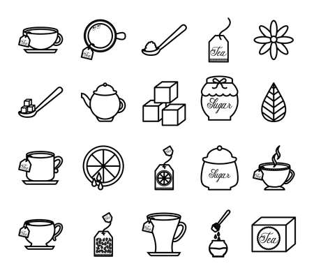 Tea icon set design, Drink breakfast beverage hot english invitation and break theme Vector illustration Çizim