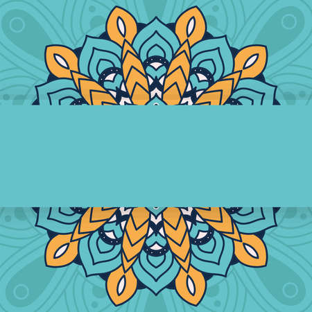 decorative floral mandala with blue background vector illustration design