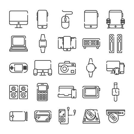 bundle of twenty five devices electronics set icons vector illustration design Vecteurs