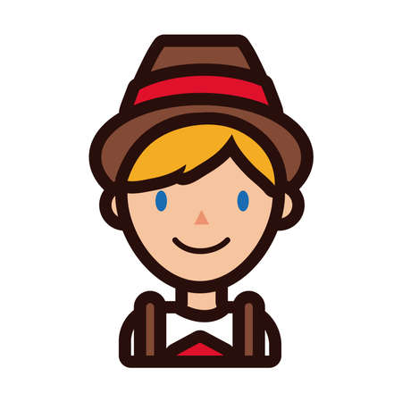 man in traditional oktoberfest costume line and fill style icon vector illustration design