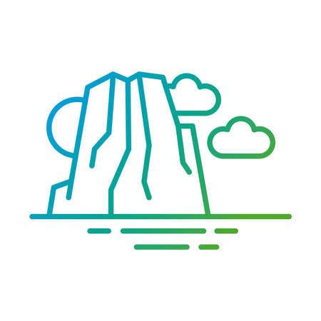 big rock landscape scene gradient style vector illustration design