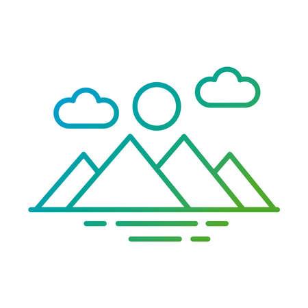mountains and sun gradient style icon vector illustration design Ilustrace