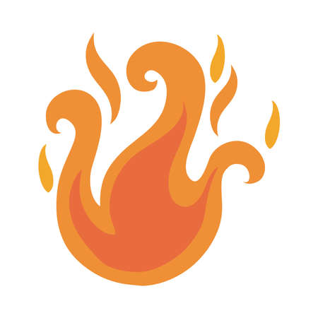 campfire flame flat style icon vector illustration design 向量圖像