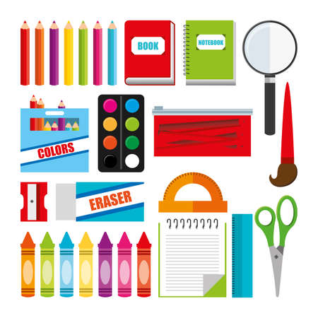 School icon set, Concept of supplies objects education study and lesson Vector illustration