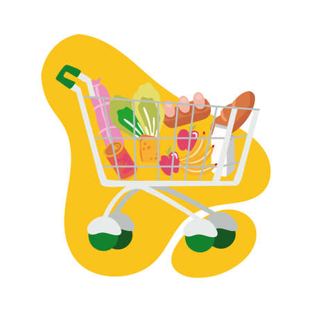 groceries in shopping cart block style vector illustration design