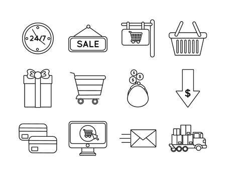 bundle of twelve shopping set icons vector illustration design