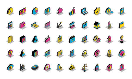 isometric style icon set of money financial banking commerce and market theme Vector illustration