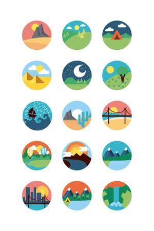 bundle of landscapes set scenes vector illustration design