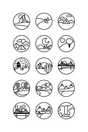 bundle of landscapes circular set scenes vector illustration design