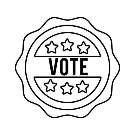 vote word in lace usa elections line style icon vector illustration design
