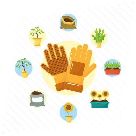 gloves and gardening tools flat style icons vector illustration design