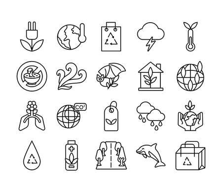 bundle of planet ecology set icons vector illustration design