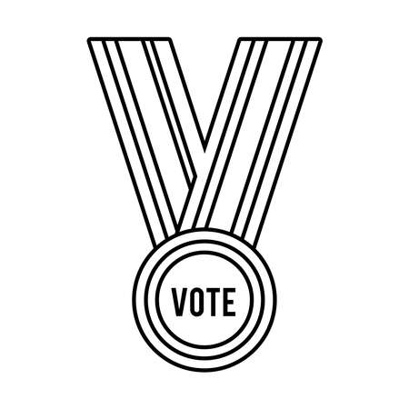 vote word in medal usa elections line style icon vector illustration design