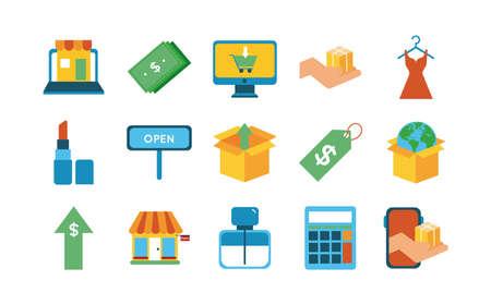 bundle of fifteen shopping set icons vector illustration design