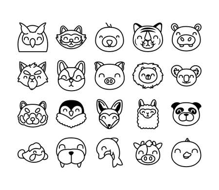 bundle of cute animals characters vector illustration design