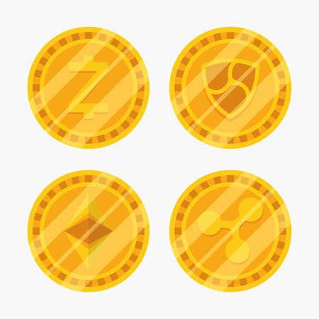 set of coins cryptocurrency money finance flat design vector illustration