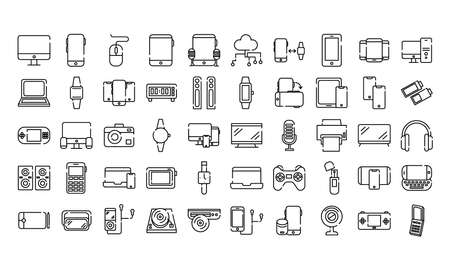 bundle of fifty devices electronics set icons vector illustration design