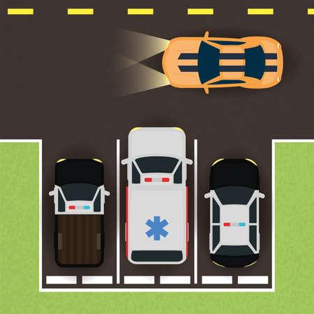 group of cars in parking zone scene vector illustration design 向量圖像