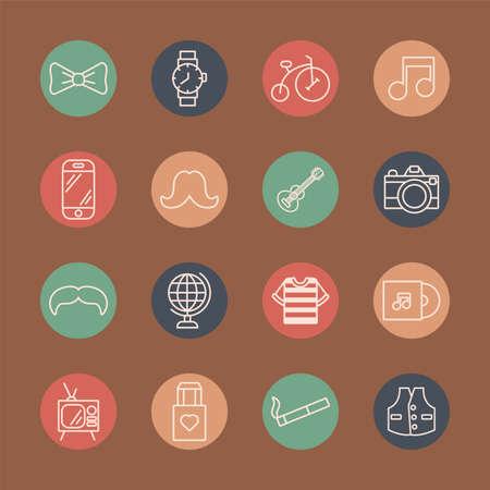 bundle of hipster style set icons vector illustration design