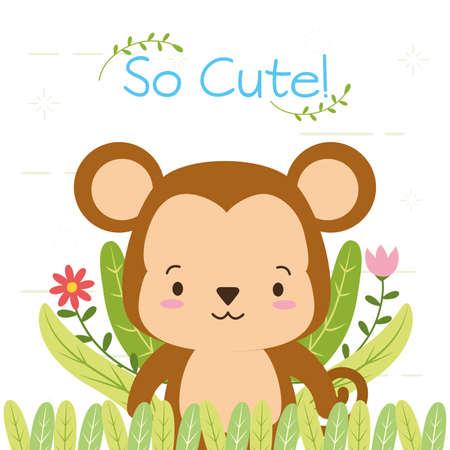 cute monkey cartoon flower leaves vector illustration design 矢量图像