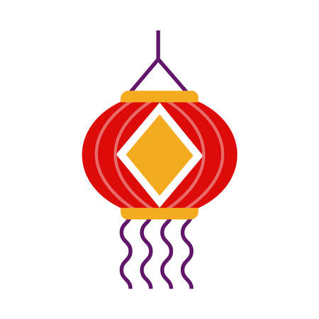 diwali paper lamp hanging decoration flat style icon vector illustration design